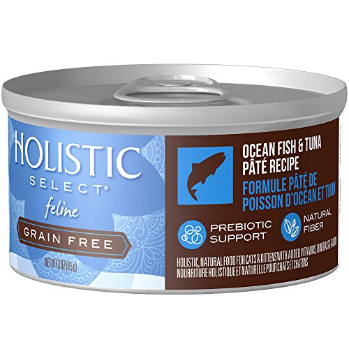 Holistic Select Natural Wet Grain Free Canned Cat Food, Ocean Fish & Tuna Pâté Recipe, 3-Ounce Can (Pack of 24)