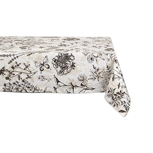 DII CAMZ11203 100% Cotton, Machine Washable, Dinner, Summer & Picnic Tablecloth, Seats 6 to 8 People, 60x84, Botanical Print