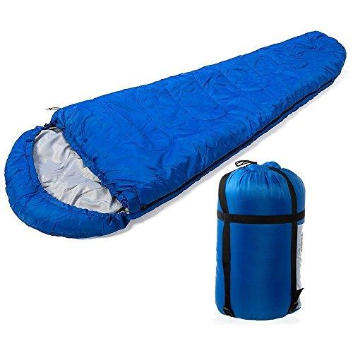 Fineway Saco de dormir cálido con forma de momia, individual, para acampada y viaje, incluye bolsa: Amazon.es: Deportes y aire libre