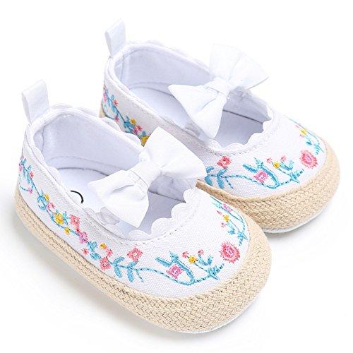 BOBORA Bebe Ninas Princesa Zapatos Primeros Zapatos Caminar Prewalker Bordado blanco