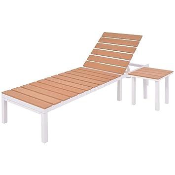 Berühmt vidaXL Sonnenliege mit Tisch Alu Aluminium WPC Gartenliege &XE_06