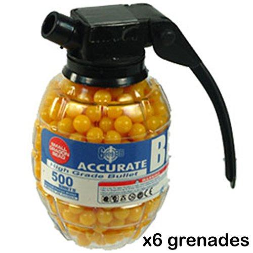 (LOT OF 6) 500 Airsoft BB Pellet 6mm BB's Pistol Gun Rifle Grenade Bottle RM2694