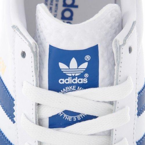 625b841291cf49 Adidas Originals Rom Leather White Trainers Blue Stripes Mens Size 9 UK   Amazon.co.uk  Shoes   Bags