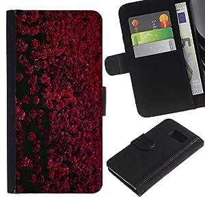 LASTONE PHONE CASE / Lujo Billetera de Cuero Caso del tirón Titular de la tarjeta Flip Carcasa Funda para Samsung Galaxy S6 SM-G920 / Red Maroon Black Field Flowers
