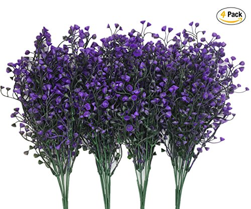 CATTREE Artificial Plants Shrubs Bushes, Plastic Fake Flowers Wedding Indoor Outdoor Home Garden Verandah Kitchen Office Table Centerpieces Arrangements Christmas Decoration - Deep Purple 4 pcs (Purple Plastic Flower)