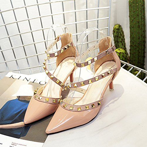 sandalias Zapatos de Rosa correa punta 37 Remache fina con qftxw4gSB