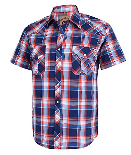 Coevals Club Men's Short Sleeve Casual Western Plaid Snap Buttons Shirt (XL, 15# Blue, Red)