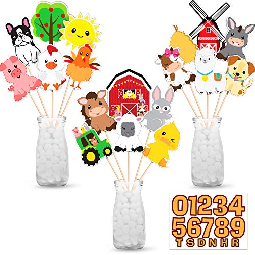 Animal Decorations For Birthday (Farm Animal Party Decorations,Centerpiece Sticks Table Toppers Farm Birthday Decorations for Farm Animals Barnyard Baby Shower Birthday Party Supplies Decorations-Set of)