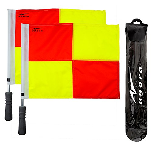 (AGORA Pro Line Premium Soccer Referee Flags with Case)