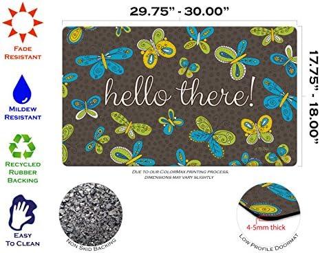 Toland Home Garden Brilliant Butterflies Hello 18 x 30 Inch Decorative Floor Mat Colorful Butterfly Doormat
