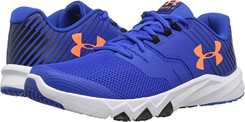 Under Armour Boys' Grade School Primed 2, Ultra Blue/White/Magma Orange, 5 M US Big (Grade School Shoes)