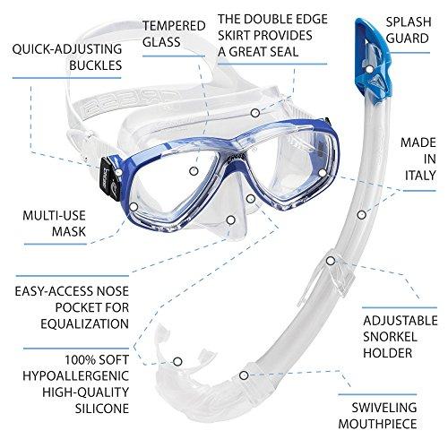 Cressi Perla Mare - Set para Snorkeling Mascara e Tubo, Fabricado en Italia, Color Azul: Amazon.es: Deportes y aire libre