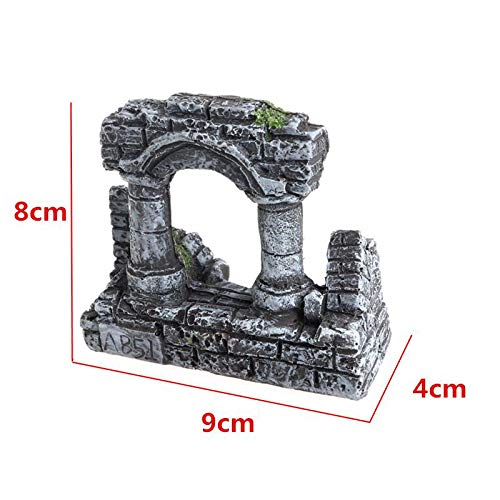VietGT Decorations - Resin Artificial Aquarium Ruin Column Ornament Stone Decorative Fish Tank Stone Decoration Rock Cave for Fish Shrimp 1 Pcs - Aquarium Tank Decorations