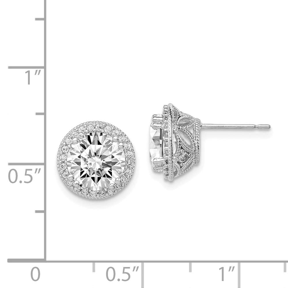 10k White Gold Tiara Collection Cubic Zirconia Post Earrings Fine Jewelry Ideal Gifts For Women