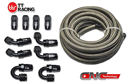 6 AN-6 AN6 Stainless Steel Braided Fuel Gas E85 Oil Line Hose 20FT + Swivel Black Fitting Kit SSAN6BK_KIT_DA