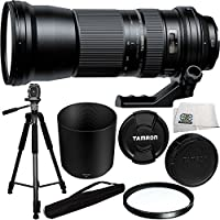 Tamron SP 150-600mm f/5-6.3 Di VC USD Lens for Canon + 95mm Multi-Coated UV Filter + 75-inch 3-way Panhead Tilt Motion with Built In Bubble Leveling Tripod + Microfiber Cleaning Cloth