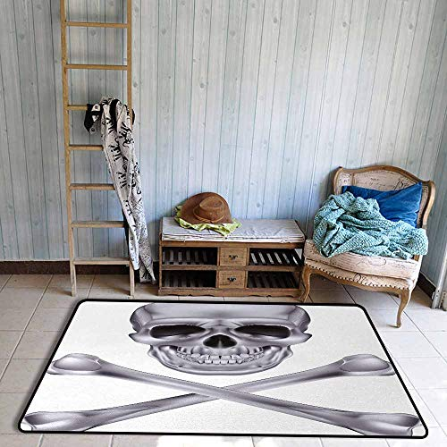 Floor Rug Pattern Silver Vivid Skull and Crossbones Dangerous Scary Dead Skeleton Evil Face Halloween Theme Easy to Clean W55 xL63 Dimgray