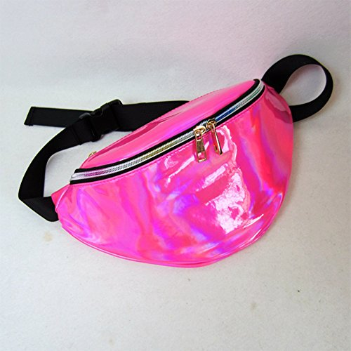 Waist Packs By Mounchain Women's Shiny Laser Holographic Waist Fanny Packs with Adjustable Waistband-Smartphone Money Coins Keys Passport Holder Pink