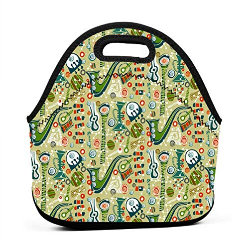 Musical Instruments Portable Bento Bag Travel Box Set Lunch Boxes Food Container Tote Picnic Bento Storage Handbag For…