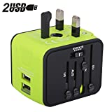 Universal Travel Adapter, Milool All-in-one International Power Adapter with 2.4A Dual USB, European Adapter Travel Power Adapter Wall Charger for UK, EU, AU, Asia Covers 150+Countries (Green)