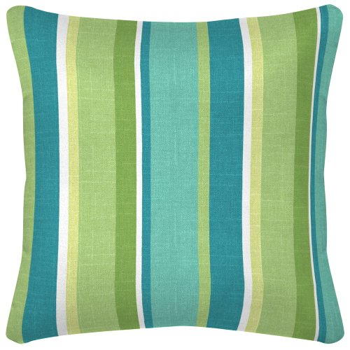 Arden Companies Strathwood Spun Polyester Pillow, 14 by 14-Inch, Mila Stripe Aloe, Set of 2 (Strathwood Outdoor Furniture)