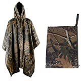 Sduck Multifunction Military Emergency Rain Poncho, Heavy duty Huge Portable Waterproof & Packable Scratch-resistant Ripstop Rainwear, Long Travel Camouflage Slicker for Adults, Unisex Raincoat to be a Tent