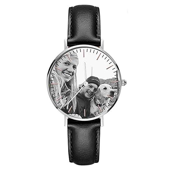 Reloj personalizado con foto Pu cuero reloj de cuarzo para hombres/mujeres amantes de regalo: Amazon.es: Relojes
