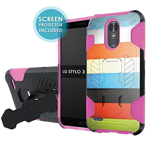 Lg Stylo 3 Phone Case  Nakedshield   Black  Hot Pink  Total Defense Armor Case  Kickstand   Holster   Screen Protector     Color Bars  For Lg Stylo 3  5 7  Screen