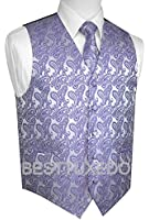 Brand Q Men's Tuxedo Vest, Tie & Pocket Square Set in Lavender Paisley