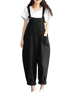 1ccb824597e6b LaoZanA Femme Salopette Combinaison Jumpsuit Casual Sarouel Pantalon Grande  Taille Lâche