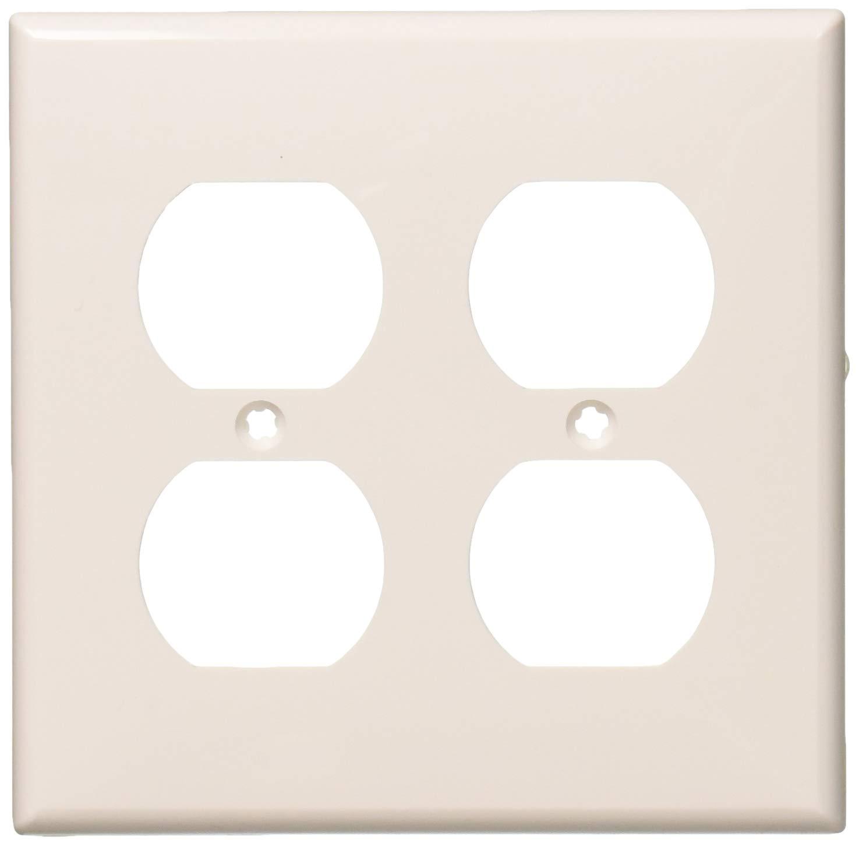 Leviton 80716-W 2-Gang, 2-Duplex, Standard Nylon Wallplate, Wallplate, White, 25-Pack