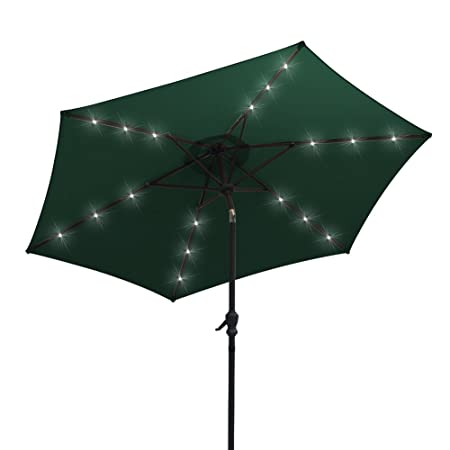 AOODA LED Lighted Patio Umbrella LED Solar Power Table Market Umbrella, with Tilt Adjustment and Crank Lift System, Perfect for Outdoors, Patio, or Any Parties Green, 9