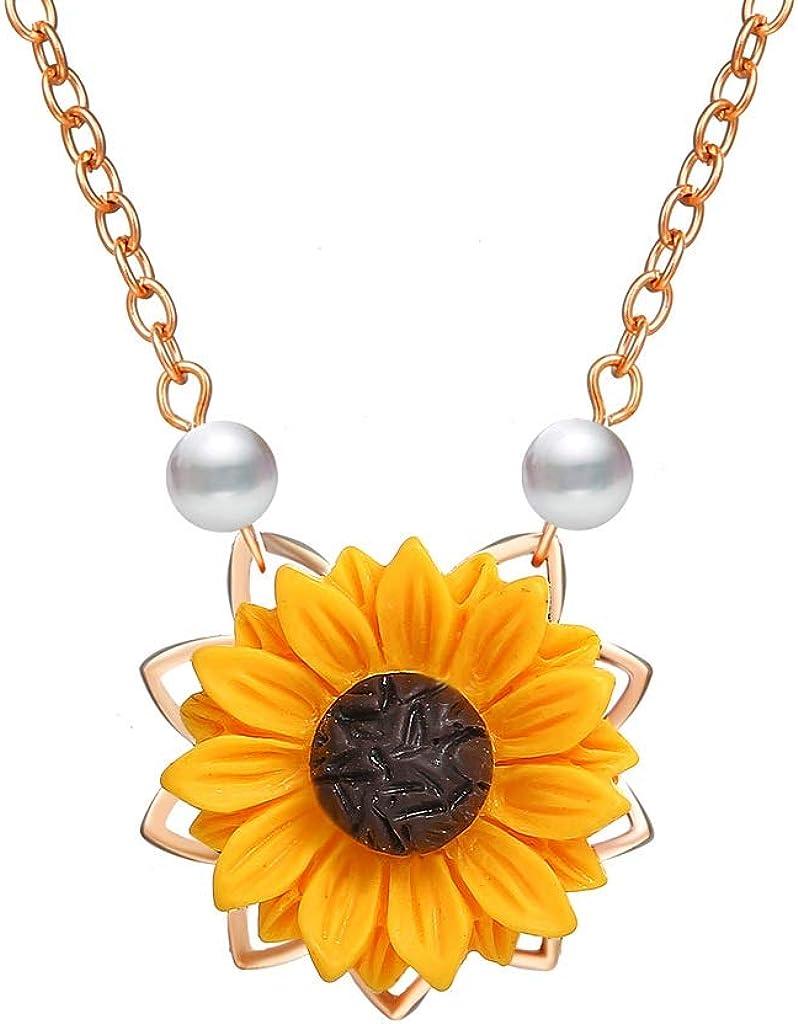 XL- Collar con Colgante de Girasol, Cadena de Perlas de Resina Boho Collar con Gargantilla Floral, joyería de Dama de Honor de Collar para Mujeres niñas
