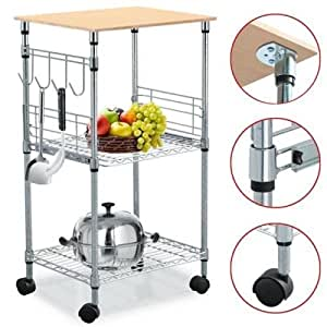 Chrome 3 Tier Wire Rolling Kitchen Cart
