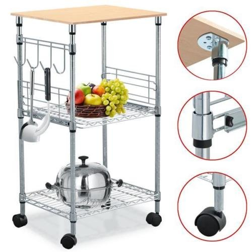 Chrome 3-Tier Wire Rolling Kitchen Cart Utility Food Service Microwave Stand from Unknown