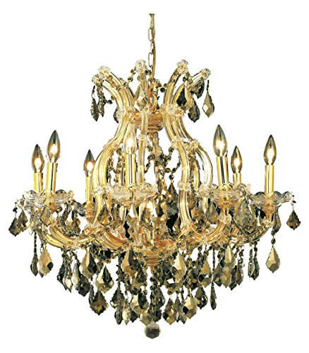 Elegant Lighting 2800D26G-Gt/Ss Swarovski Elements Smoky Golden Teak Crystal Maria Theresa 9-Light, Single-Tier Crystal Chandelier, Finished in Gold with Smoky Golden Teak Crystals ()