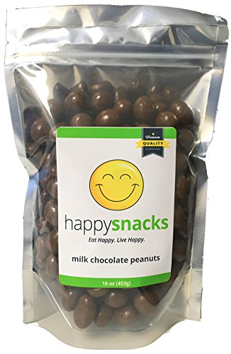 Chocolate Peanut Milk (Happy Snacks Chocolate Covered Peanuts - Pure Milk Chocolate - 1 Pound Resealable Pouch (16 oz))