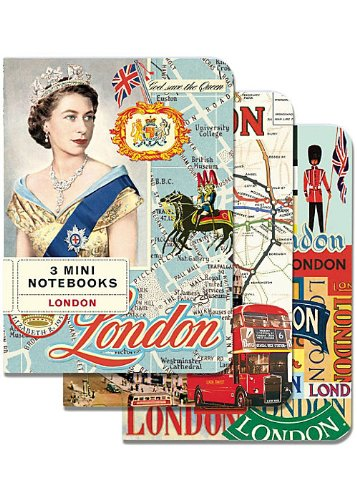Cavallini Mini Notebooks London 4 x 5, 3 Mini Notebooks