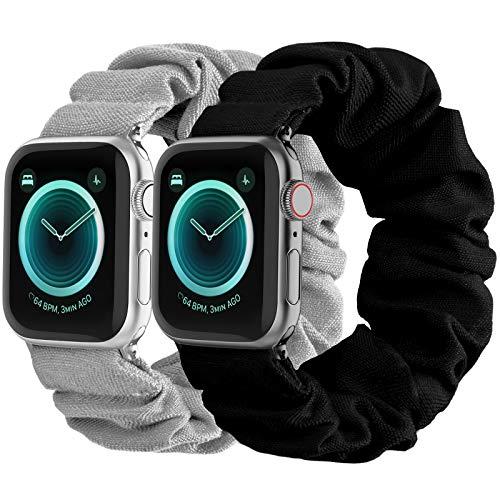 2 Bandas gris/negro scrunchie Apple watch 6/5/4/3/2/1/SE s/m