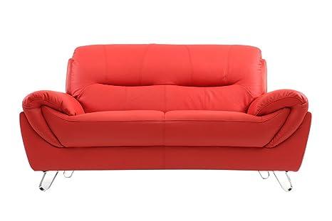 Divano Rosso Pelle : Miliboo divano in pelle design rosso posti kansas amazon
