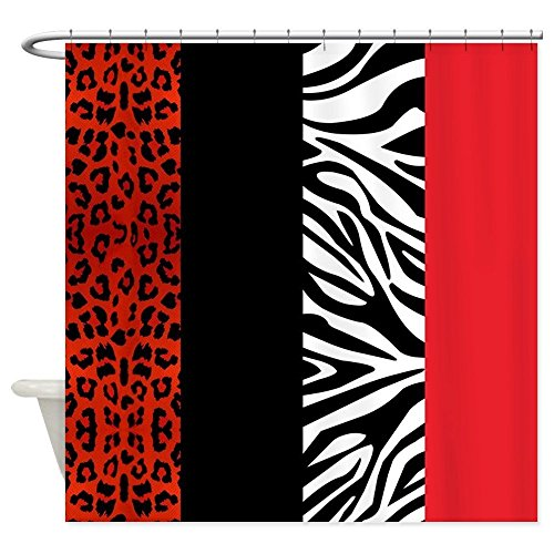 rd And Zebra Animal Print Fabric Shower Curtain ()