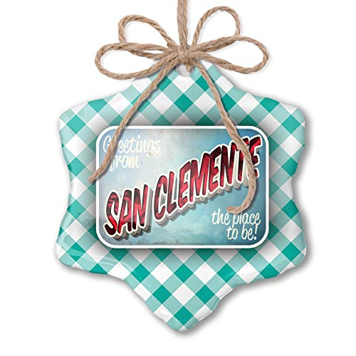NEONBLOND Christmas Ornament Greetings from San Clemente, Vintage Postcard Pastel Mint Green Plaid