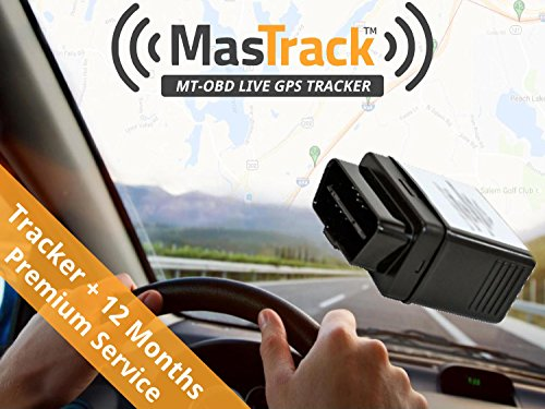MasTrack OBD Real Time GPS Vehicle Tracker with 12 Months of Premium Service