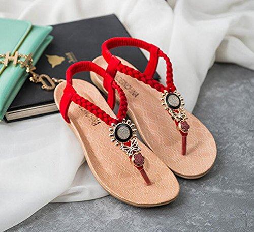 YOUJIA Mujeres Adornos de Metal Elegante T-Correa Bohemia Sandalias Verano Zapatos Planos #3 Rojo