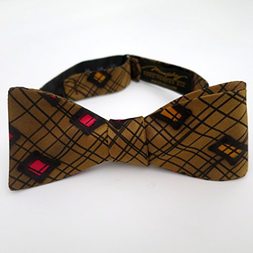 100% Silk Hand-Painted Hand-Made Men's Self Tie Bow Tie ''Square'' Art to Wear by Murphyties by Murphyties Inc.