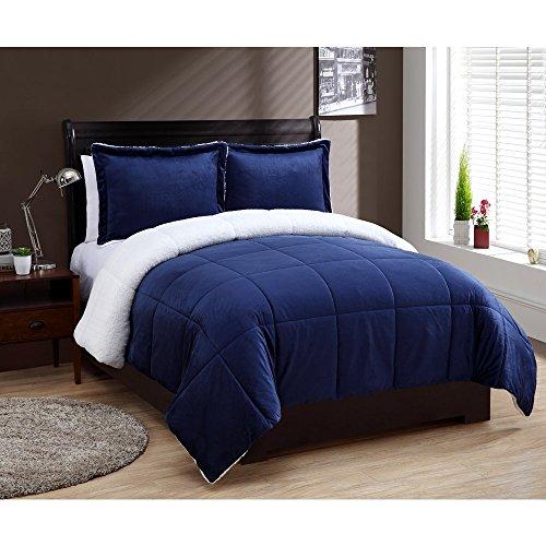 Twin Size Comforter Set in Navy Cozy Mink-FeelSherpa Lined 2 Pc Set w/ Sham