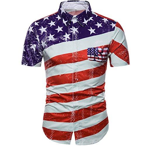 Cottory Mens American Flag Printed Desigen Casual T-Shirt Short Sleeve Button Down Shirts Medium