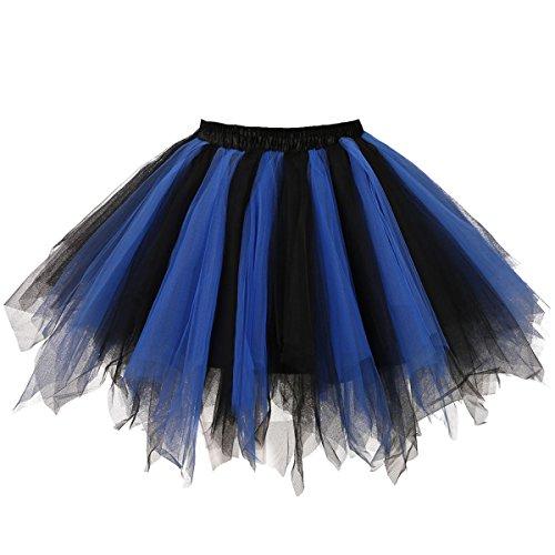 Musever 1950s Vintage Ballet Bubble Skirt Tulle Petticoat Puffy Tutu Black/Blue Large/X-Large