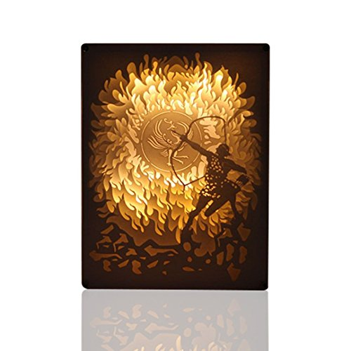 TeamWork Papercut Light Boxes (Hou Yi Shot Suns), 3D LED Shadow Box Lamp with Wireless Remote Control, Nursery Table Lamp Decorative for Bedroom, Fairy Tale Mood Light for Baby, Kids - Reading Glass China Outlet And