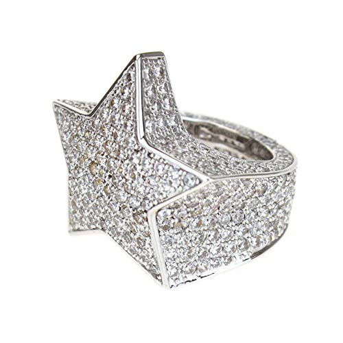 14K White Gold Plated A+ CZ Heavy Duty Ice Out Full Star Bling Ring Size 10